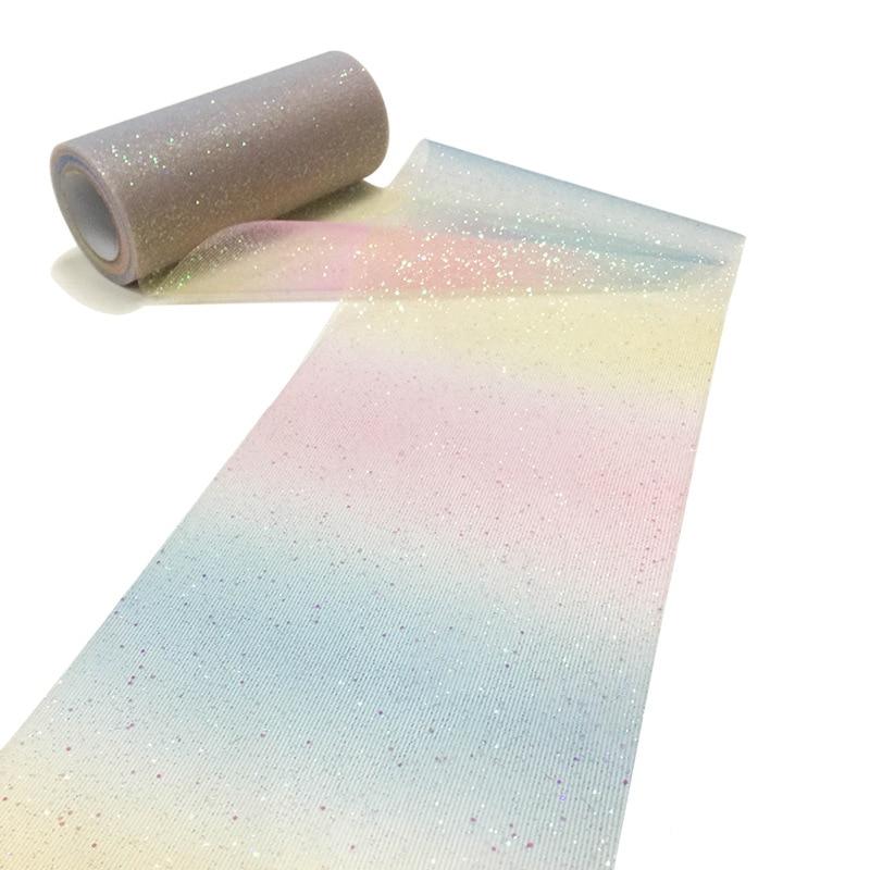 HAOCHU 6inch 10Yards Rainbow Color Glitter Tulle Roll Spool Gauze Fabric Girl Tutu Skirt Wedding Table Runner Decoration