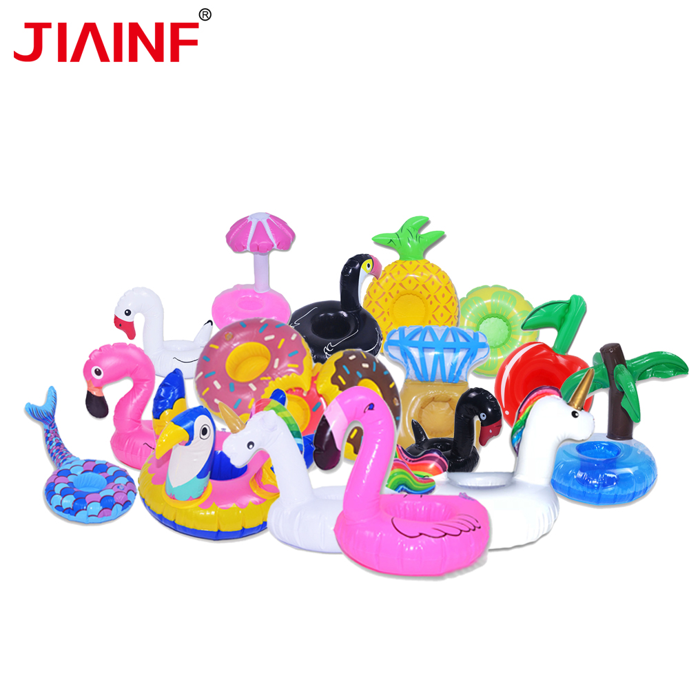 JIAINF 10pcs/lot inflatable Flamingo drinks holder Multi-type coasters Summer 2018 Unicorn cup pool float kids