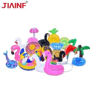 JIAINF-posavasos inflables para bebidas de flamenco, taza de unicornio, Flotador para piscina, 10 unidades/lote, para verano, 2018