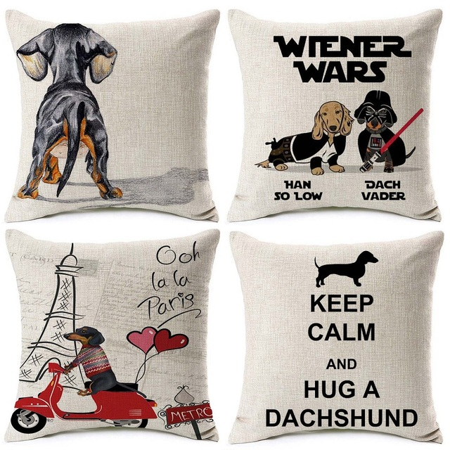 Dachshund Cushion Covers Keep Calm And Hug A Sausage Dog Christmas