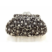 8328BK Crystal Flower Floral Bridal Party Black hollow Metal Evening purse clutch bag handbag case bpx