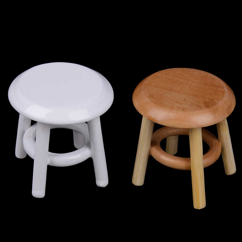 1/12 Scale Dollhouse Miniature Furniture Round Floral Stool Chair Acc for Dolls House Decor Kids Children Pretend Play Toy