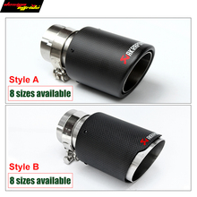54mm/76mm Carbon Fiber Coated Universal Car Exhaust Pipe Tip Tailtip Akrapovic for volkswagen vw golf 7