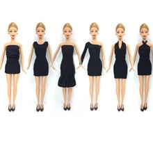 НК 12 Пунктов = 6 Черные Платья + 6 Черные Каблуки Куклы Модная Одежда Ручной Работы Экипировка Для Barbie Doll Лучшие подарок Для Ребенка