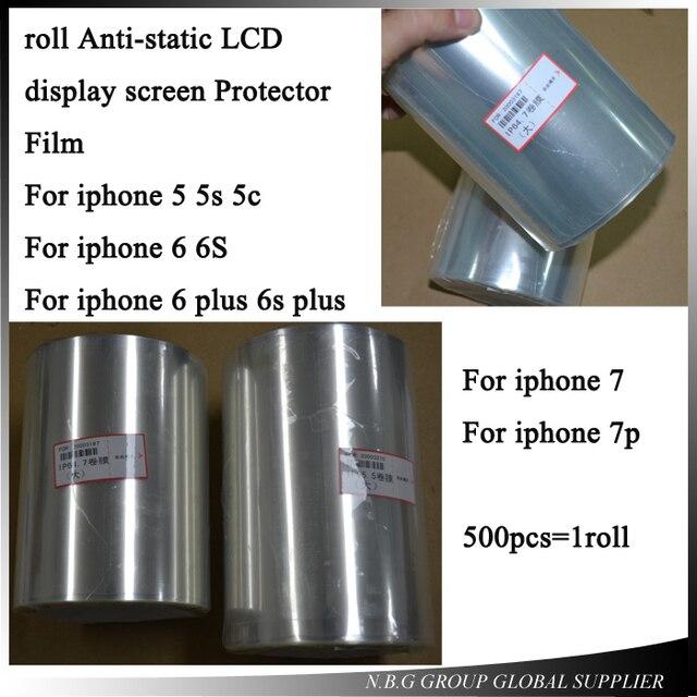 500 Stks/roll antistatische lcd scherm Protector Film Voor iphone 5 5 s 5c/6 6 s/6 p 6sp/7/7 p Renovatie LCD Beschermfolie
