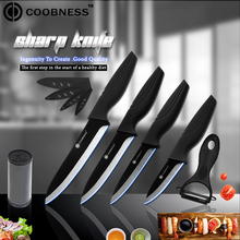 COOBNESS Brand 3 4 5 6 inch Black Ceramic Knife One Peeler+8 Holder Cooking Kit Piece Fruit Chef Kitchen Knives