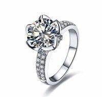 נדל מוצק 925 כסף סטרלינג שיבוץ פרח רומנטי בצורת חתונה לנשים 3 קרט AAAAA cz זירקון טבעת אירוסין