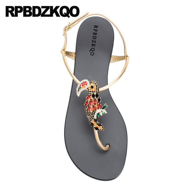 Jewel Diamond Shoes Rhinestone Women Sandals 2018 Summer Thong Nice Flat Slingback Crystal Beach Gold Strap Holiday Embellished disney для очистки воды винни и его друзья