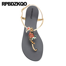 Jewel Diamond Shoes Rhinestone Women Sandals 2018 Summer Thong Nice Flat  Slingback Crystal Beach Gold Strap 6366a6dc3759