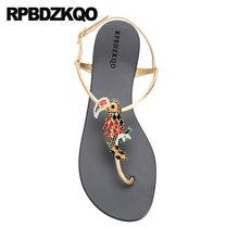 6b323094ca1bb8 Jewel Diamond Shoes Rhinestone Women Sandals 2018 Summer Thong Nice Flat  Slingback Crystal Beach Gold Strap