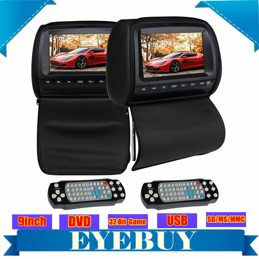 black universal Car LCD Auto Headrest pillow DVD Player 9 HD Headset dvd monitor USB Game