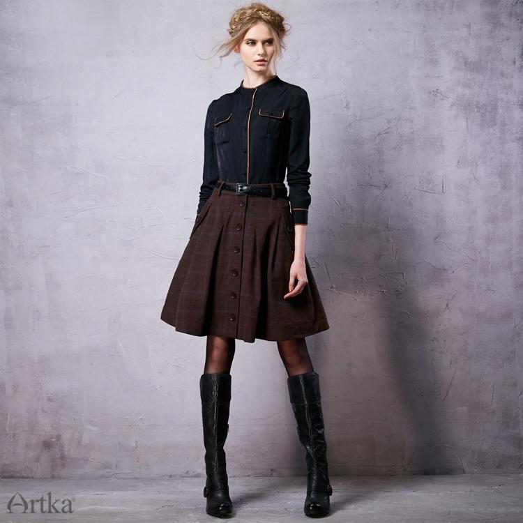 用冬の女性のウールスカートロリータショートスカート女の子のためのヴィンテージ格子縞のスカートミニサイア Artka Limo United 17