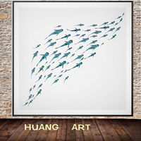 Animal Undersea landscape Koi fish Wall Hand painted oil painting Feng Shui Fancy Carp Home office hotel decoration Home
