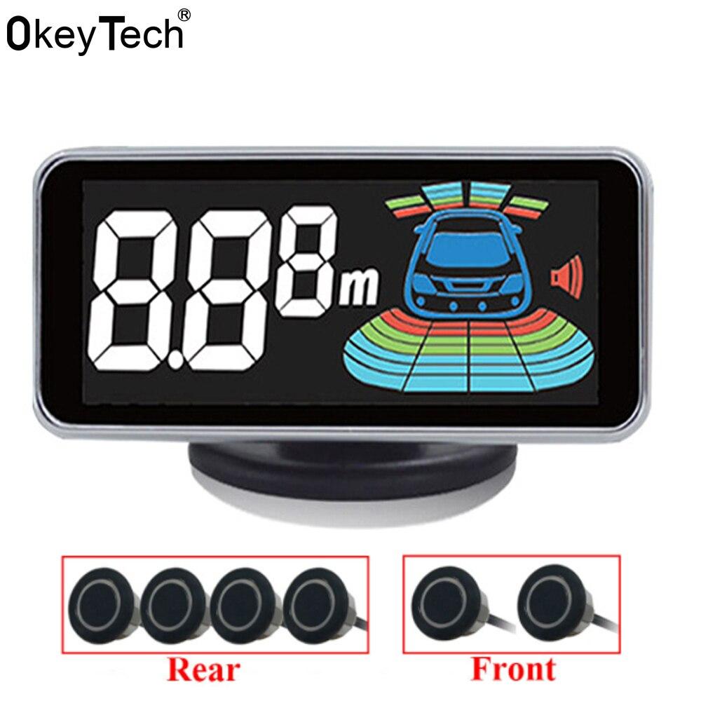 OkeyTech 6 Sensores Parktronic Sensor de Estacionamento Invertendo Radar Detector Digital LED Auto Estacionamento Assistência Sistema de Alarme