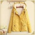 Kimono japonés mori chica harajuku retro vintage star print algodón grueso fleece con capucha de piel chaqueta de las mujeres chaqueta de invierno abrigo