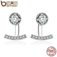 BAMOER Authentic 925 Sterling Silver Abstract Elegance Clear CZ Stud Earrings For Women Sterling Silver Jewelry