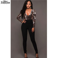 Spot Hot Women S Sexy Jumpsuit V Collar Long Sleeves Sequin Jumpsuits Autumn And Winter Bodycon
