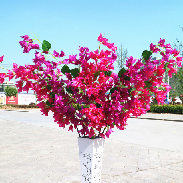 Decorative Silk Fake Flowers Bougainvillea Artificial Flower Branch