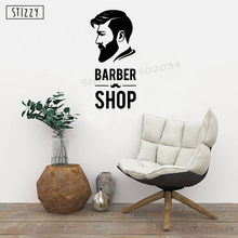 STIZZY Wall Decal Barbershop Window Vinyl Decor Hair Salon Logo Wallpaper Adhesive Haircut Removable Wall Sticker Art DesignA940(China)