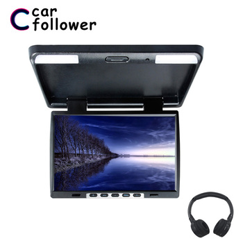 15.4 Inch Roof Mount Flip Down 1024*760 TFT LCD Monitor MP5 IR Transmitter Adjustable View Screen Dome LED Light Car TV image
