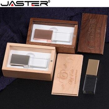 JASTER Fashion new Crystal Usb with wooden box real capacity creative USB 2.0 4GB 8GB 16GB 32GB 64GB External Storage USB flash