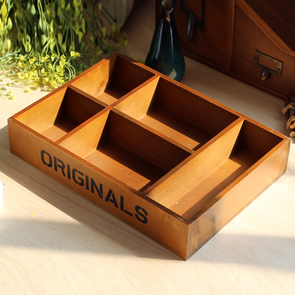 Home Decor Storage Boxes: Wooden Storage Boxes With 5 Grids Design Home Decoration