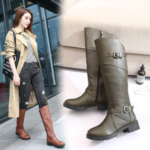Image 2 - Drop shipping Winter Warm Fur Knee High Boots Womens Snow Boots High Heels Side Zipper Female Shoes Black Brown green Large Size