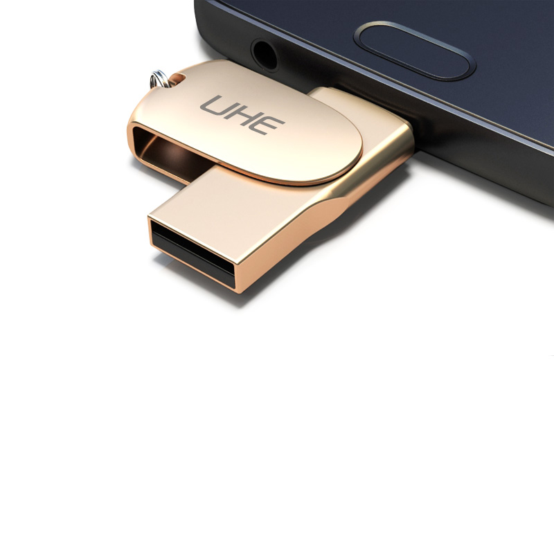 UHE Brand New Fashion Metal otg Usb 2.0 Usb 16/32/gb Usb Flash Drive Full Capacity Pendrive usb memory stick gift Dropshipping