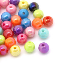 1000Pcs DIY Mixed AB Color Perles Perlas Round Spacer Beads Acrylic Jewelry Making Findings 6mm