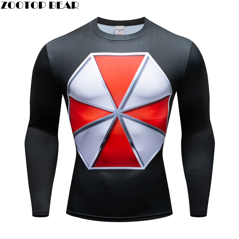 resident evi T shirts Men Compression Superman T-shirts Fitness Man Long Chemise Tshirts Bodybuilding Top Crossfit Cosplay