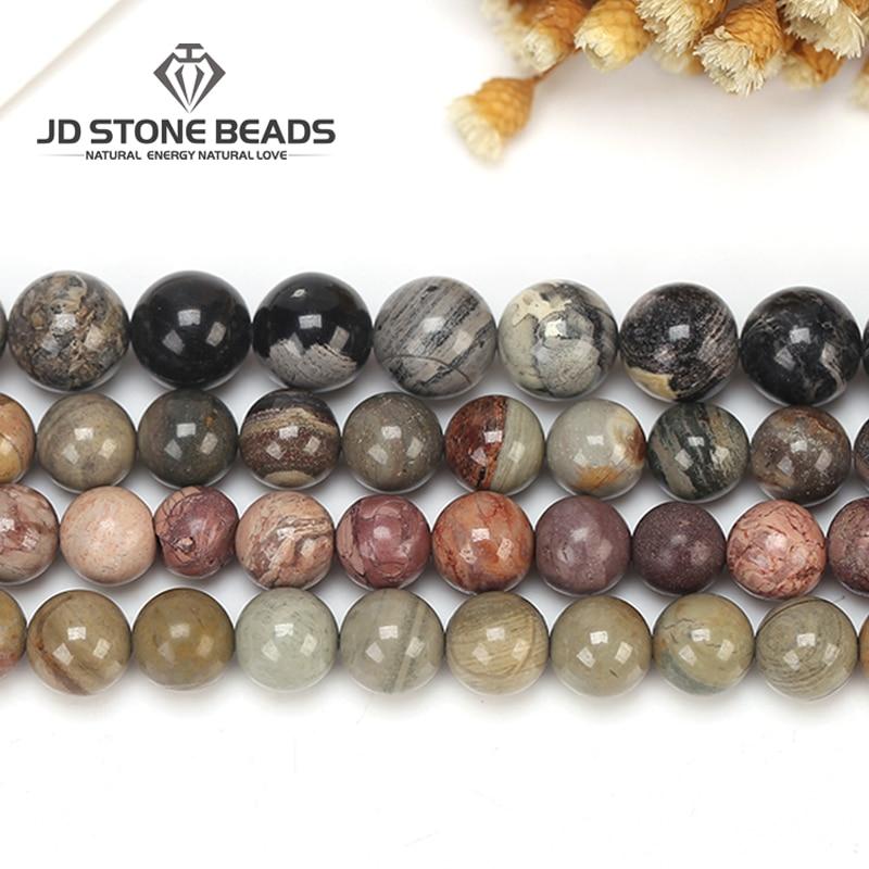 8 mm 12 Pretty Round Red Silver Leaf Jasper gemstone beads