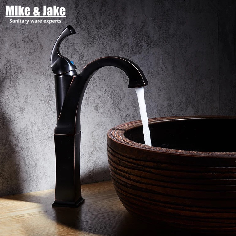 New Brass Oil Rubbed Bronze Black tall Faucet Bathroom Faucet Vanity Vessel Sinks Mixer Tap Cold And Hot black tall Tap MJ7895 bathroom accessories black oil rubbed bronze toothbrush holders band ceramic cups wba474