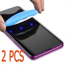2 1 قطعة UV الزجاج المقسى لسامسونج S10 S10E S8 S9 plus S7 حافة 5D كامل السائل الغراء واقي للشاشة ل غالاكسي نوت 8 9 S9 S8