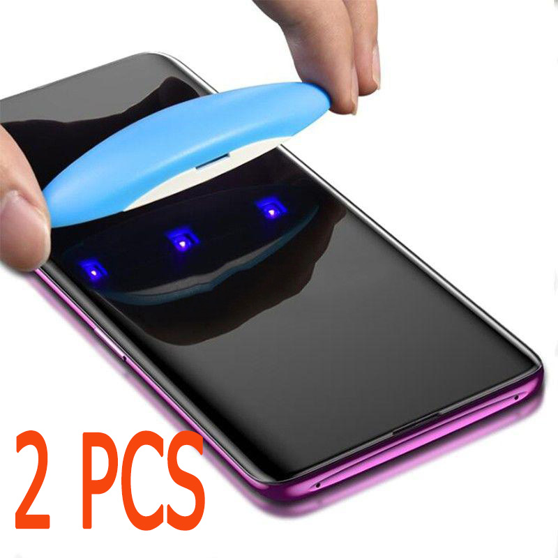 2-1PCS UV Tempered Glass For Samsung S10 S10E S8 S9 Plus S7 Edge 5D Full Liquid Glue Screen Protector For Galaxy Note 8 9 S9 S8