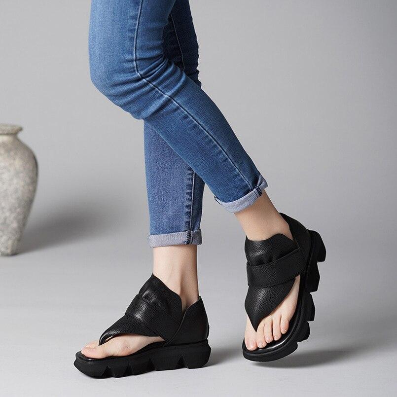 Sandales d'été tongs en cuir chaussures femmes sandales décontracté confortable clip toe femme sandales femmes chaussures de sport - 6