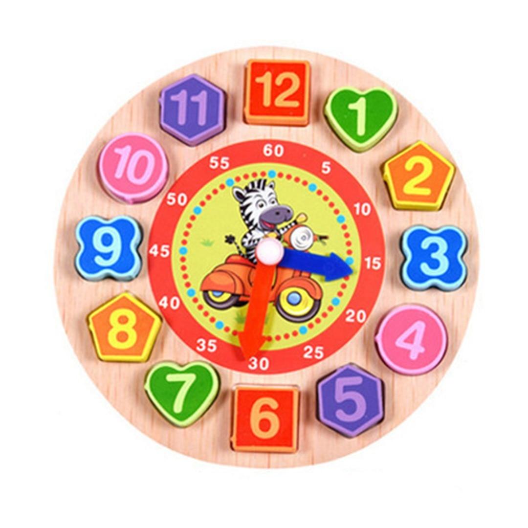New Arrival Wooden Blocks Cartoon 3D Digital Geometry Clock Block Toys For Children Educational Toy