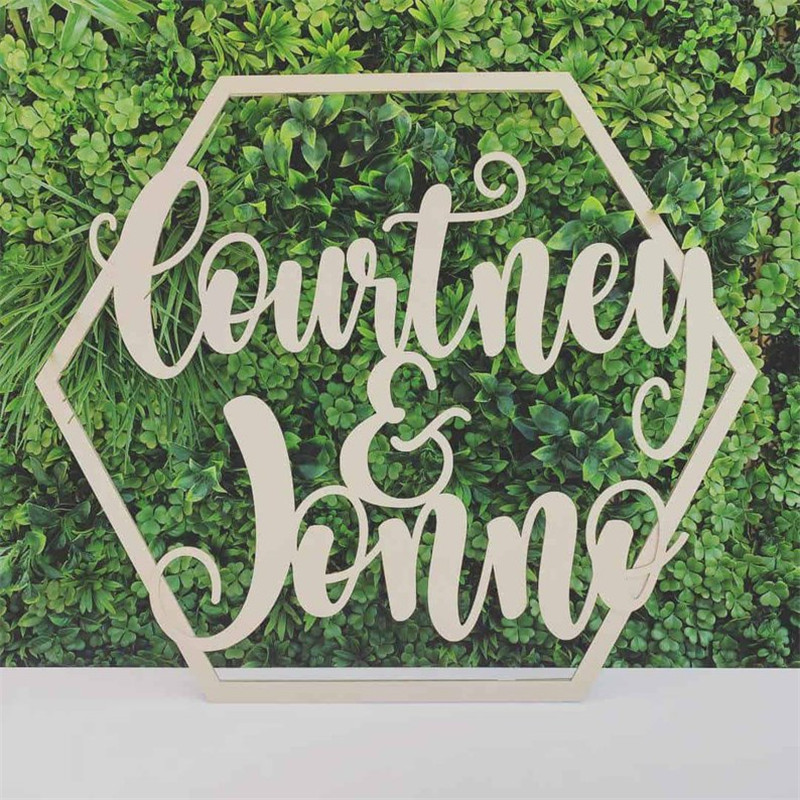Personalized Country Wedding Gifts: Hexagon Name Sign Wooden Personalized Wedding Couple Name