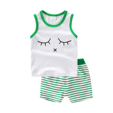 UBELIEF Kids Underwear vests Solid Cartoon Baby Boys Summer Sets Black Green Shorts Kids Sleeveless Shirts Waistcoat Outfits Set