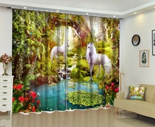 Chinese Modern Luxury Horse 3D Blackout Window Curtain Drapes For Living room Bed room Office Hotel Wall Tapestry Cortinas