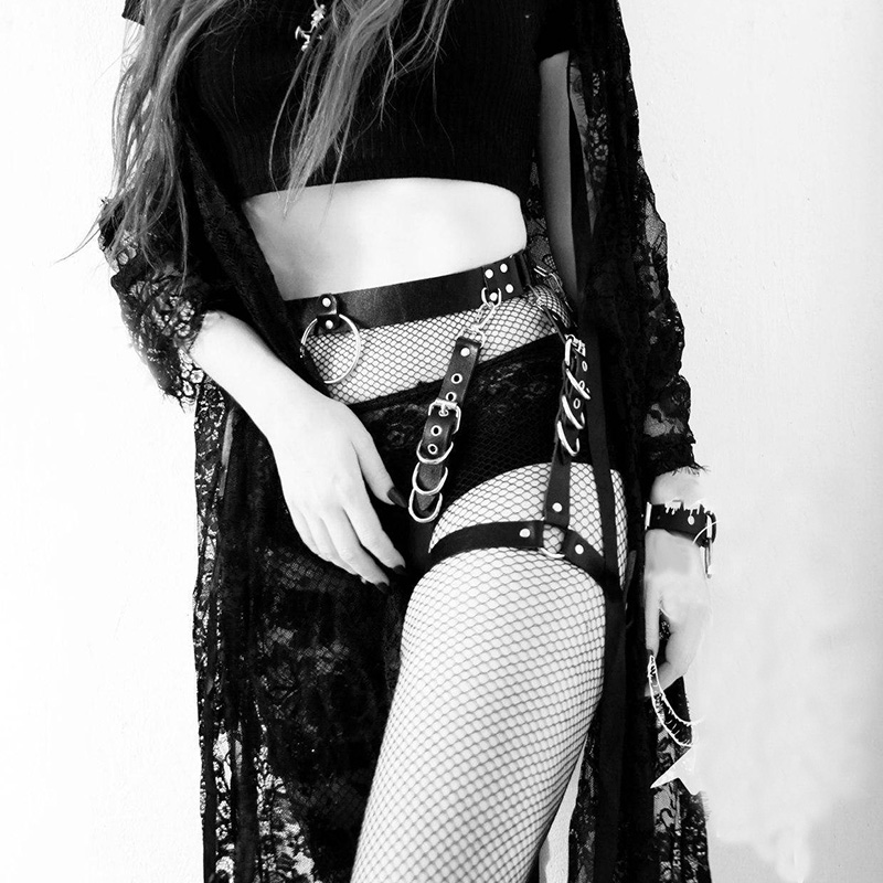 Goth Bondage Black Mini Dress