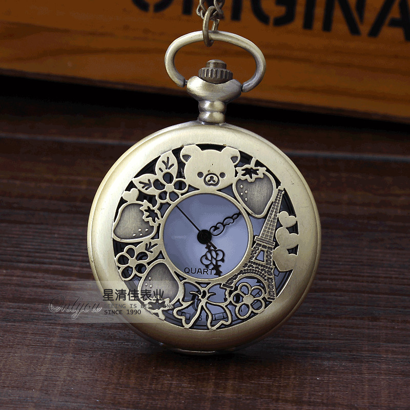 Provided A Paris & Rilakkuma Strawberry Pattern Design Lovey Pocket Watch Vintage Bronze Necklace Womens Lady Mens Fob Chain Pendant Preventing Hairs From Graying And Helpful To Retain Complexion Watches
