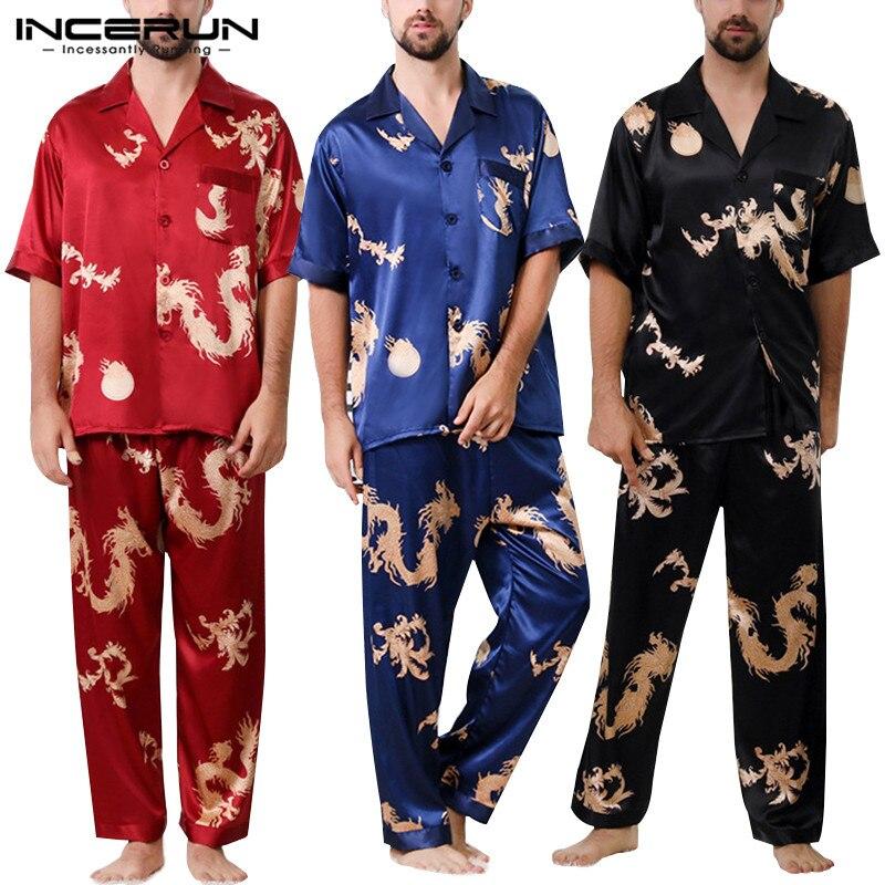 INCERUN Men Pajamas Set Print Nightgown Loose Short Sleeve Tops Long Pants Silk Satin Men Loungewear Ladies Sleepwear Sets 2019