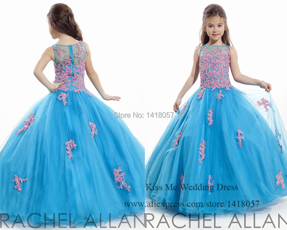 Princess Blue Pink Flower Girl Dresses 2015 Prom Dress Children Ball ...