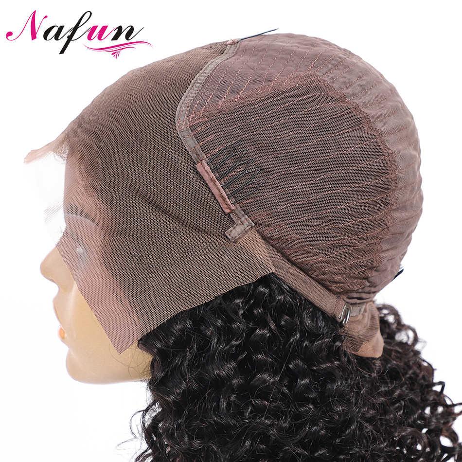 Парики из натуральных волос на кружеве NAFUN, Короткие парики из бразильских волос Remy, кудрявые вьющиеся волосы, парик из натуральных волос для черных женщин