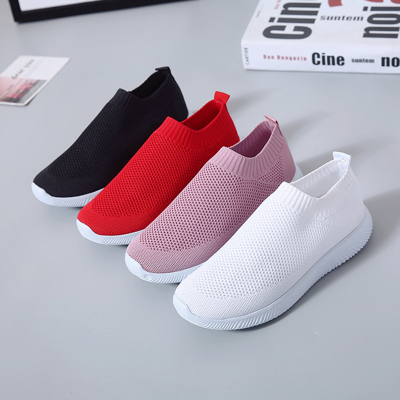 HTB16cwWajDuK1Rjy1zjq6zraFXaO Rimocy plus size breathable air mesh sneakers women 2019 spring summer slip on platform knitting flats soft walking shoes woman