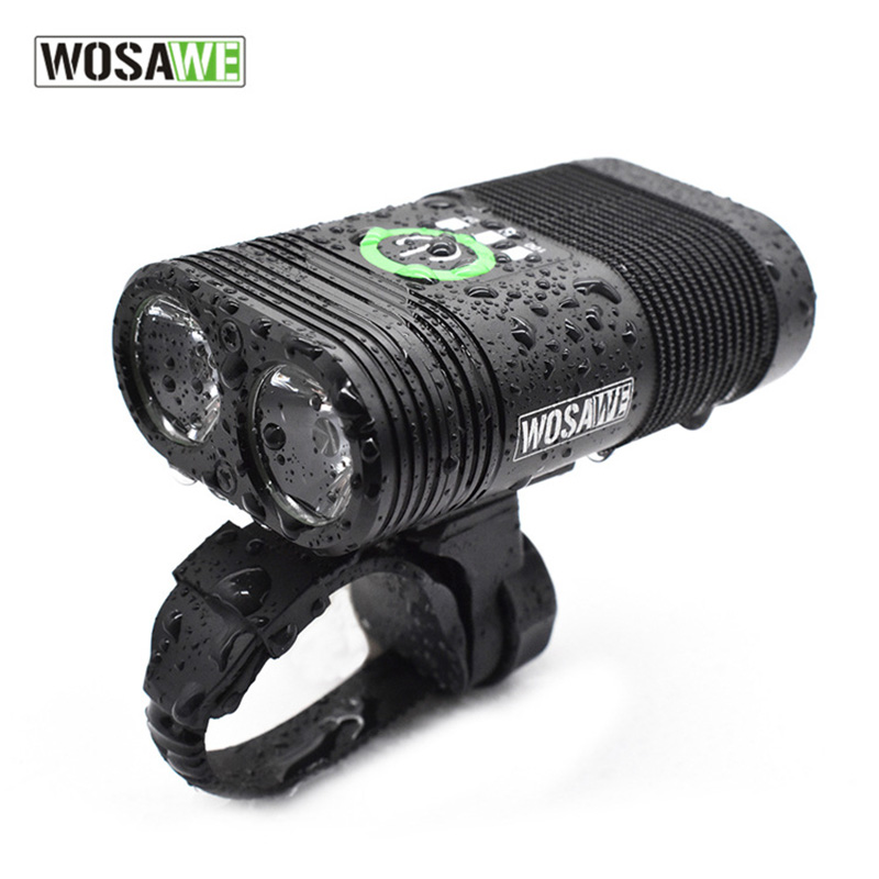 WOSAWE USB Rechargeable Bike Light 2400 Lumen Cycling Led Light Battery Flashlight Torch Front Handlebar Lights for Bicycle top mini usb rechargeable bike light front handlebar cycling led lights battery 18650 flashlight torch bicycle accessories