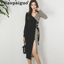 2019 Modis New Arrival Contrast Split Bodycon Dress Women Long Sleeve Striped Vintage Dress Women Streetwear Vestido Verano Robe split contrast trim dress