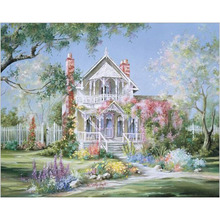 Flower Garden House.40x50cm,Painting By Numbers,DIY,wall Art,Living Room Decoration,Scenery,Figure,Animal,Flower,Cartoon
