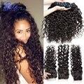 Onda de água do cabelo virgem peruano com fechamento queen hair produtos oceano onda cabelo molhado e ondulado do cabelo humano 4 pacotes com fecho
