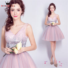 QUEEN BRIDAL Evening Dresses Pink Crystal Beaded Tulle Short Luxury Prom Party  Dress Evening Gown 2018 NEW Vestido De Festa JW39 ab3424fee4f8